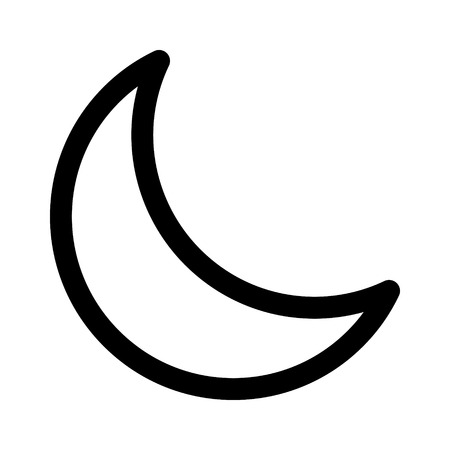 planetoid: Crescent moon or night  nighttime line art icon for apps and websites