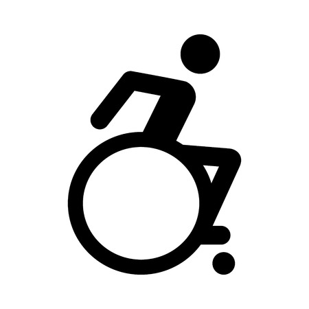 handicap sign: Modern wheelchair or handicap  handicapped sign flat icon for apps and websites