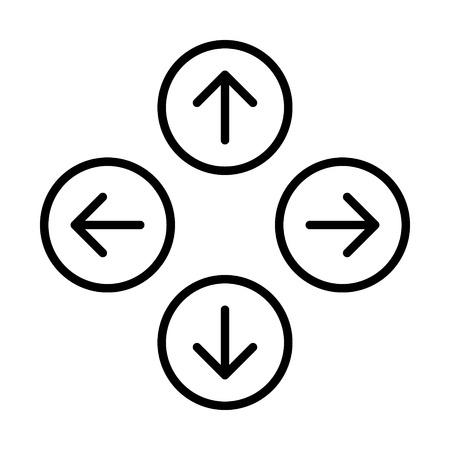 앱이나 웹 사이트를 위해 왼쪽 또는 오른쪽으로 동쪽으로 남쪽 서쪽으로 둥근 화살표 라인 아트 아이콘