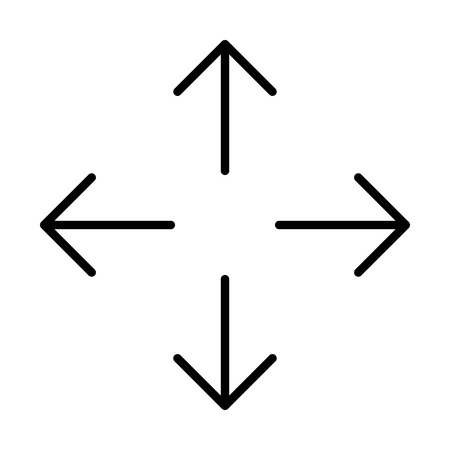 Up down left right  or north east south west arrows line art icon for apps and websites