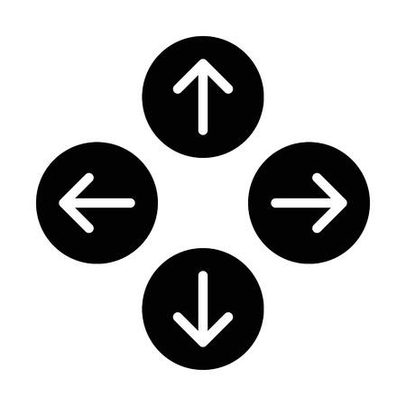 위로 아래로 앱과 웹 사이트에 대한 권리 또는 북쪽 동쪽 서쪽 남쪽 둥근 화살표를 평면 아이콘을 왼쪽