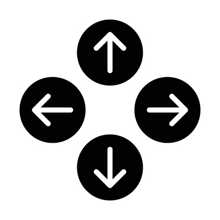 east: Up down left right  or north east south west round arrows flat icon for apps and websites