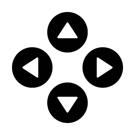 move controller: Up down left right  or north east south west round triangle arrows flat icon for apps and websites Illustration