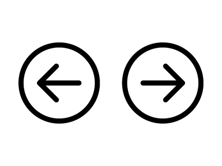 back and forth: Left and right, previous and next or back and forth round arrows line art icon for apps and websites