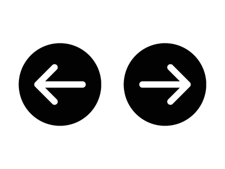 Left and right, previous and next or back and forth round arrows flat icon for apps and websites