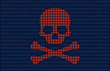 hidden danger: Computer virus infection skull of death flat illustration for websites