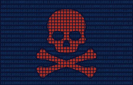 Computer virusinfectie schedel van de dood flat illustratie voor websites Stockfoto