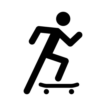 Skateboarder doing skateboarding on a skateboard flat icon for apps and websites