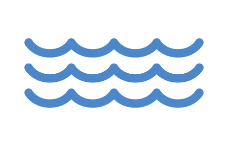 Blue ocean sea water waves line art icon for apps and websites