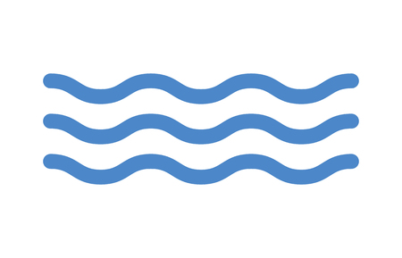 Blue ocean sea water line art icon for apps and websites