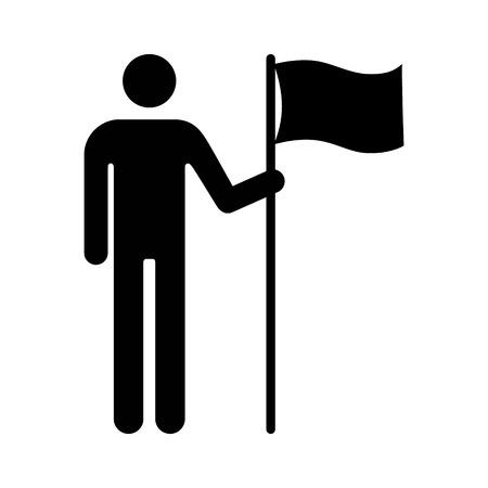 Mann hält Fahne oder eine Person mit Flagge flach Symbol für Anwendungen und Websites Vektorgrafik