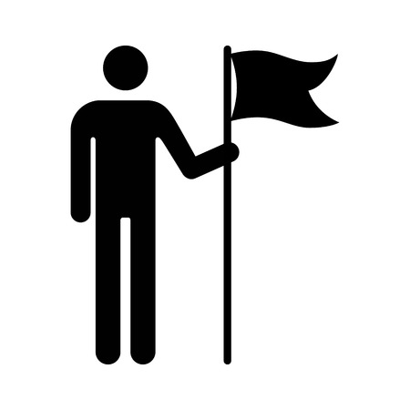 Man holding flag banner or person holding flag banner flat icon for apps and websites