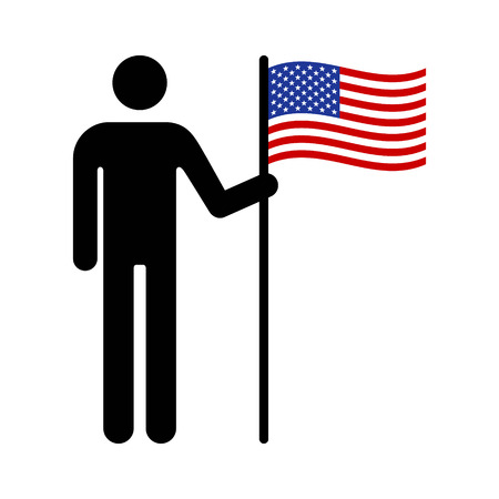 loyalist: Man, person or patriot holding the American flat flat icon for apps and websites