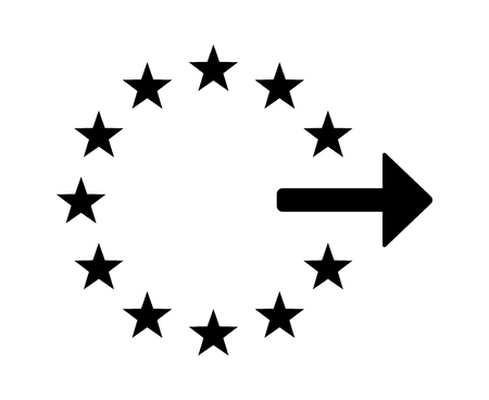 dissolution: Exiting or withdrawing from the European Union flat icon for apps and websites Illustration