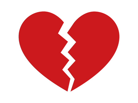 breaking up: Red heartbreak  heart break or divorce flat icon for apps and websites Illustration