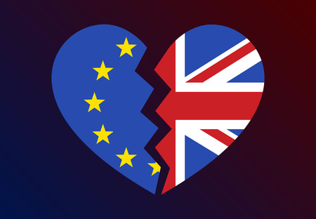 Brexit or Britain exiting  withdrawing from the European Union flat vector illustration for websites