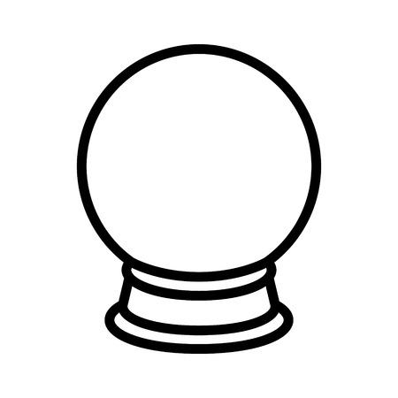水晶玉占いアプリとウェブサイトのライン アートのアイコンの  イラスト・ベクター素材