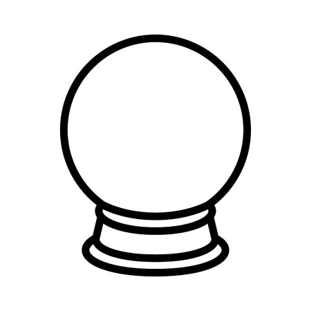 clairvoyance: Crystal ball of fortune telling line art icon for apps and websites