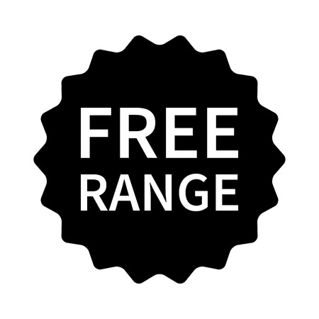 roam: Free range label, badge, seal, sticker or stamp flat vector icon