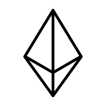 Ethereum kristal of ether cryptogeld lijntekeningen icoon voor apps en websites