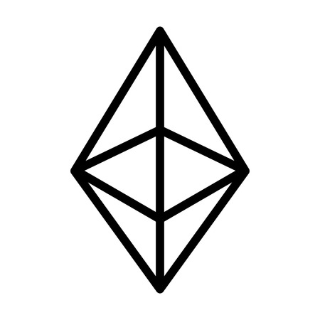ether: Ethereum crystal or ether cryptocurrency line art icon for apps and websites