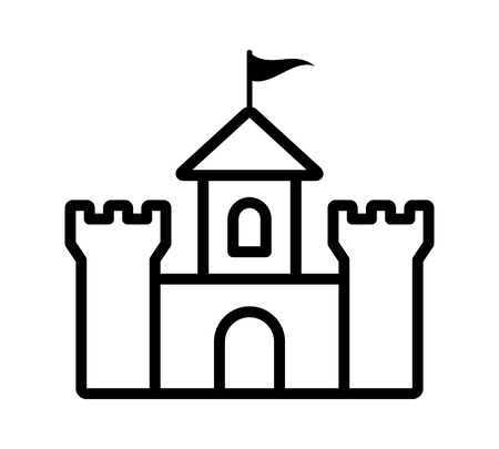 Castle fortress or citadel base line art icon for games and websites