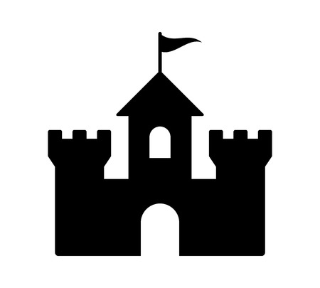 Castle fortress or citadel base flat icon for games and websites  イラスト・ベクター素材