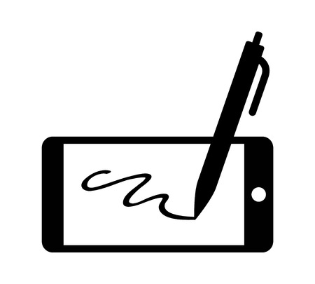 Digital signature with stylus pen and mobile phone flat icon for apps and websites