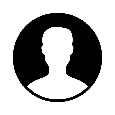 Male user account profile circle flat icon for apps and websites 向量圖像