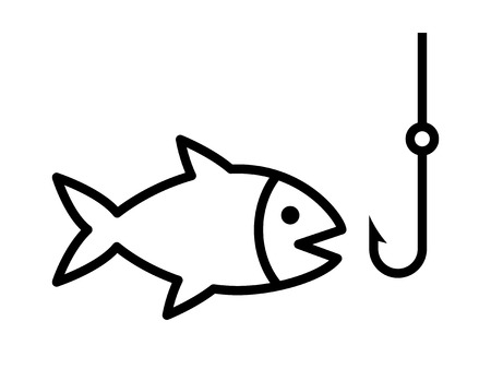 Fishing a fish with hook lure line art icon for apps and websites Vectores