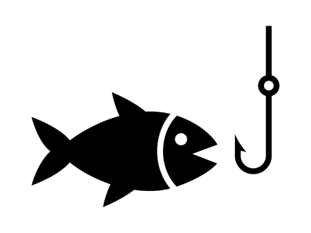 Line Art Of Fish : Fishing a fish with hook lure line art icon for apps and websites