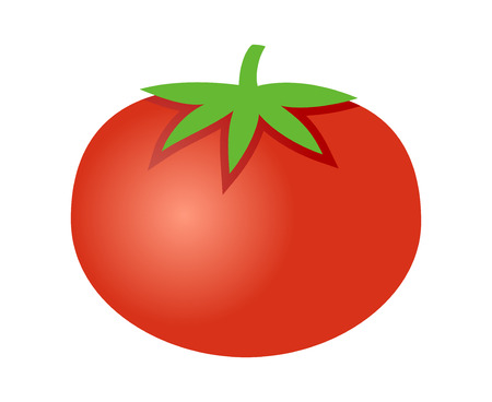 Tomato with leaves flat gradient icon for food apps and websites