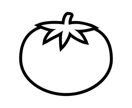 Tomato with leaves line art icon for food apps and websites