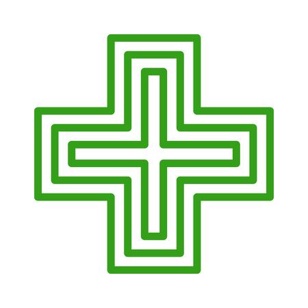 앱과 웹 사이트를위한 유럽의 녹색 십자가 약국 상점 로그인 아트 아이콘
