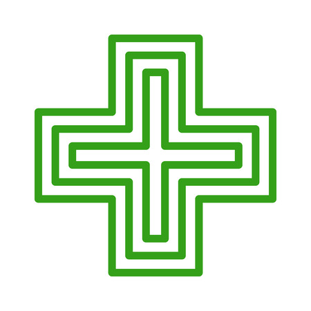 European green cross pharmacy store sign line art icon for apps and websites Çizim