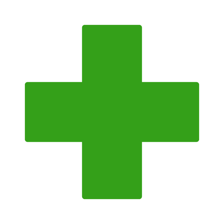 European green cross pharmacy store sign flat icon for apps and websites Vectores