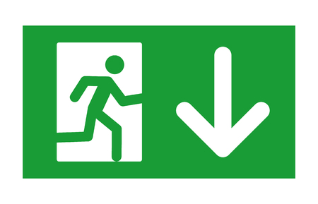 Green exit sign with running man and down arrow flat icon for print