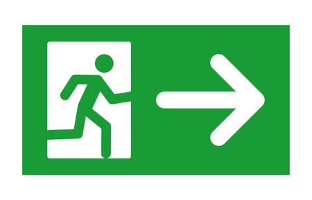 Green exit sign with running man and right arrow flat icon for print