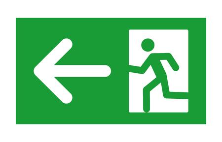 salida de emergencia: Señal de salida verde con el hombre corriente y la flecha izquierda icono plana para la impresión