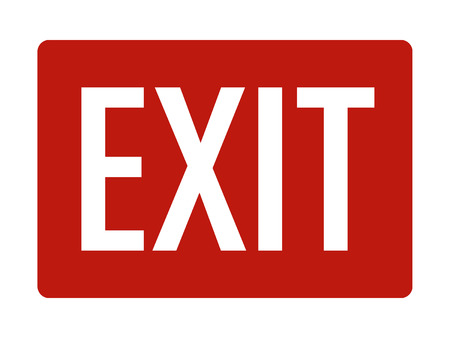 Red exit sign with text flat vector icon for print