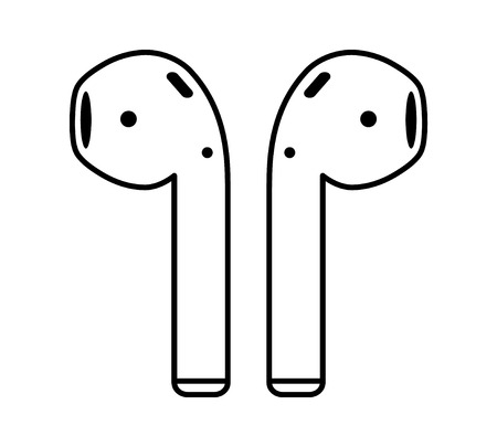 Airpods wireless headphones thin line art icon for apps and websites