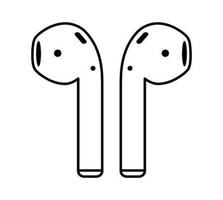Airpods Drahtlose Kunst Symbol Kopfhörer Linie Für Anwendungen Und ...