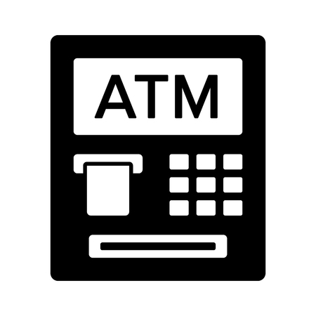 automated: ATM  automated teller machine with text flat icon for banking apps and websites