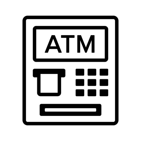automated teller: ATM  automated teller machine with text line art icon for banking apps and websites