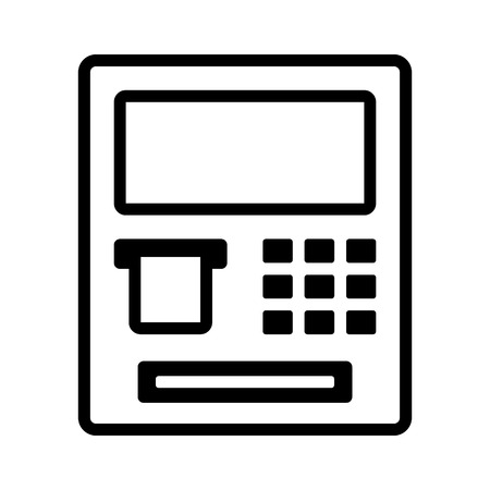 automated: ATM  automated teller machine line art icon for banking apps and websites