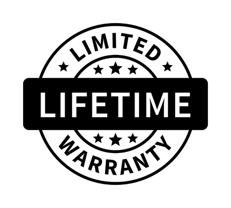 Limited lifetime warranty badge, seal, stamp or label flat icon Imagens - 64092443