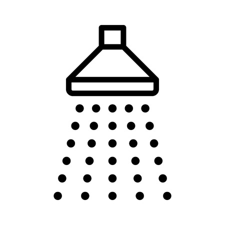 Shower sprinkler spray with water coming down line art icon for apps and websites Иллюстрация