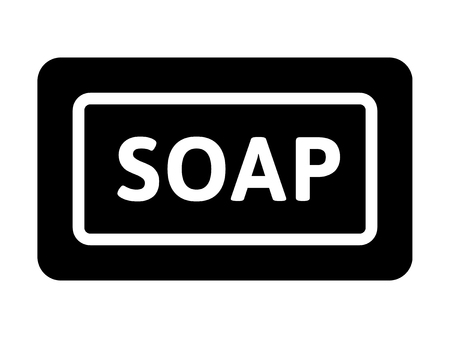 aqueous: Bar of cleaning soap with word flat icon for apps and websites