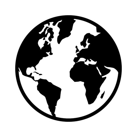 World map globe or planet earth world map line art icon for apps and websites  イラスト・ベクター素材