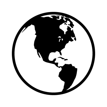 localization: World map globe or planet earth world map line art icon for apps and websites Illustration